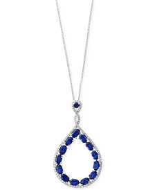 Royalé Bleu by EFFY® Sapphire (3-3/4 ct. t.w.) and Diamond (1/3 ct. t.w.) Teardrop Pendant Necklace in 14k White Gold