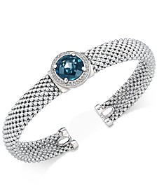 London Blue Topaz (4-1/4 ct. t.w.) and Diamond (1/5 ct. t.w.) Popcorn Mesh Cuff Bracelet in Sterling Silver