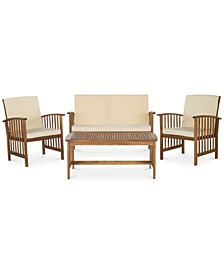 Goren Outdoor 4-Pc. Seating Set (1 Loveseat, 2 Chairs & 1 Coffee Table), Quick Ship
