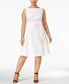 Anne Klein Plus Size Shadow-Striped Fit & Flare Dress