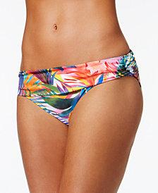 Lauren Ralph Lauren Tropic Palm Printed Shirred Hipster Bikini Bottoms