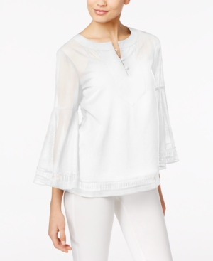 Trina Turk Cotton Bell-Sleeve Peasant Top -  adult