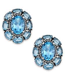 Blue Topaz Flower Stud Earrings (5 ct. t.w.) in Sterling Silver