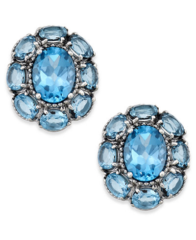Blue Topaz Flower Stud Earrings (5 ct. t.w.) in Sterling Silver