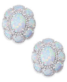 Opal Flower Stud Earrings (3 ct. t.w.) in Sterling Silver