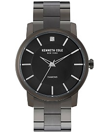 Kenneth Cole New York Men's Diamond Accent Black Ion-Plated Stainless Steel Bracelet Watch 44mm KC9286