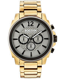 Kenneth Cole Reaction Men's Chronograph Gold-Tone Stainless Steel Bracelet Watch 48mm 10031948
