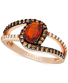 Le Vian Chocolatier® Neon Tangerine Fire Opal® (1/3 ct. t.w.) and Diamond (3/8 ct. t.w.) Ring in 14k Rose Gold