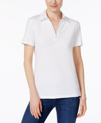 Image of Karen Scott Studded Collared Cotton Top, Created for Macy's