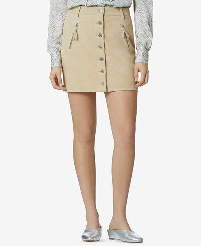 Avec Les Filles Suede Stretch Mini Skirt