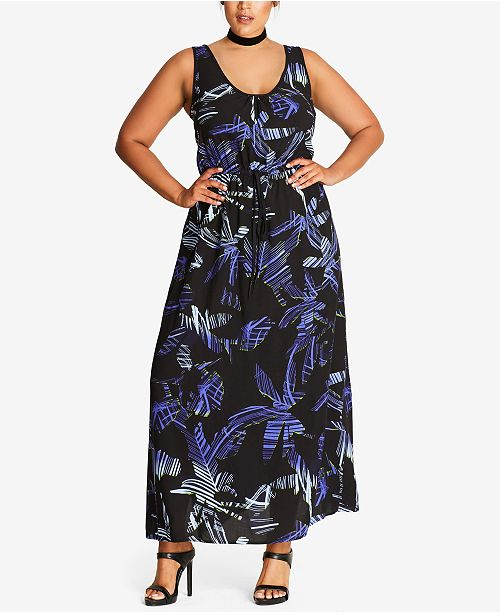 City Chic Trendy Plus Size Drawstring-Waist Maxi Dress & Reviews ...