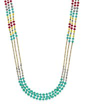 INC International Concepts Gold-Tone Multicolor Three-Layer Beaded Statement Necklace, Created for Macy's