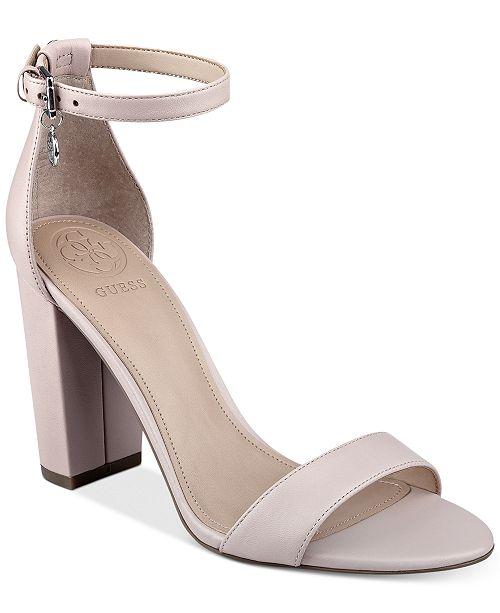 6b5bc255559 GUESS Women s Bamboo Two-Piece Block-Heel Sandals   Reviews ...