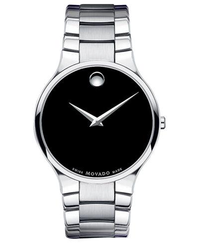 Movado Men's Swiss Serio Stainless Steel Bracelet Watch 38mm 0606382