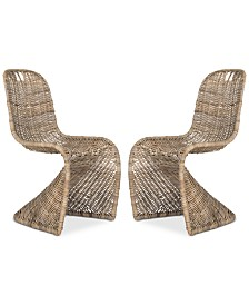 Menon Set of 2 Wicker Dining Chairs, Quick Ship