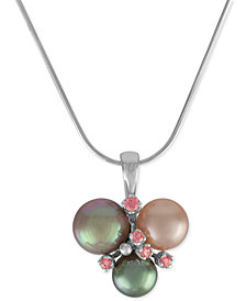 Majorica Sterling Silver Pink Cubic Zirconia & Colored Imitation Pearl Pendant Necklace
