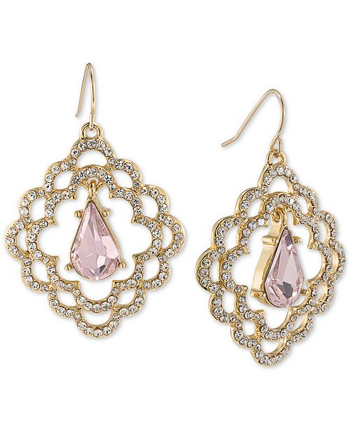 Carolee Gold-Tone Pavé & Pink Stone Scalloped Drop Earrings