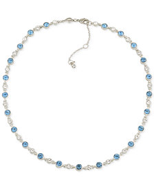 Carolee Silver-Tone Clear & Blue Crystal Collar Necklace