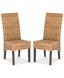 Gallie Set of 2 Wicker Dining Chairs, Quick Ship