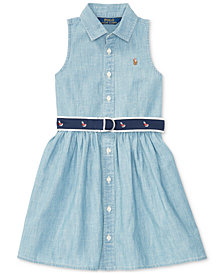 Polo Ralph Lauren Fit & Flare Chambray Shirtdress, Little Girls (2T-6X)