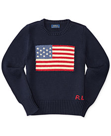 Ralph Lauren American Flag Knit Cotton Sweater, Big Girls (7-16)