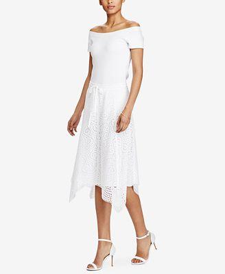 Lauren Ralph Lauren Handkerchief-Hem Cotton Midi Skirt - Skirts ...