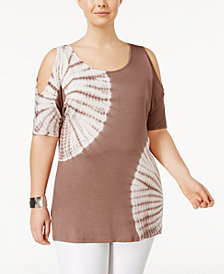 Belldini Plus Size Cold-Shoulder Tie-Dyed Tunic