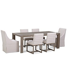 CLOSEOUT! Astor Dining 7-Pc. Set (Dining Table, 4 Side Chairs & 2 Upholstered Castered Dining Chairs)