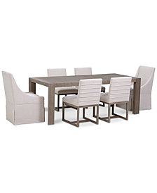Astor Dining 7-Pc. Furniture Set (Dining Table, 4 Side Chairs & 2 Upholstered Castered Dining Chairs)