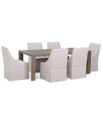 CLOSEOUT! Astor Dining 7-Pc. Furniture Set (Dining Table & 6 Upholstered Castered Dining Chairs)