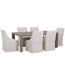 Astor Dining 7-Pc. Furniture Set (Dining Table & 6 Upholstered Castered Dining Chairs)
