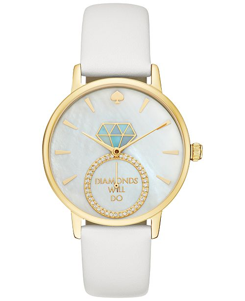 kate spade new york Women's Metro White Leather Strap Watch 34mm KSW1317