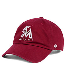 '47 Brand Miami Marlins Cardinal and White Clean Up Cap