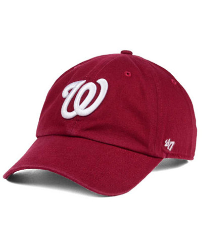 '47 Brand Washington Nationals Cardinal and White Clean Up Cap