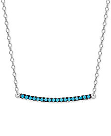Manufactured Turquoise Bar Necklace in Sterling Silver