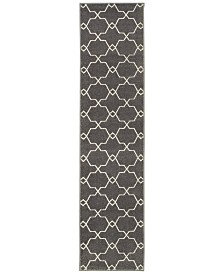 """CLOSEOUT! JHB Design  Soleil Jagged Charcoal 1'10"""" x 7'6"""" Indoor/Outdoor Runner Rug"""