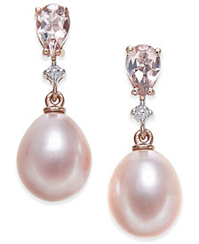 Pink Cultured Freshwater Pearl (8-1/2mm), Morganite (3/4 ct. t.w.) and Diamond Accent Drop Earrings in 14k Rose Gold