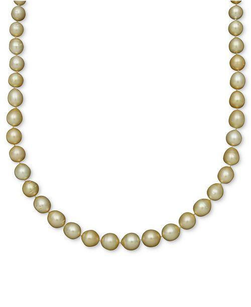 Belle de Mer Pearl Necklace, 14k Gold Golden South Sea Pearl Oval Strand (10-12mm)