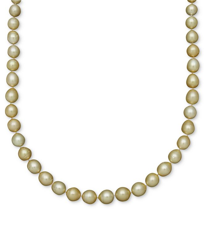 Belle de Mer Pearl Necklace, 14k Gold Golden South Sea Pearl Oval Strand (10-12mm)