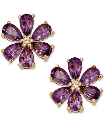 Amethyst (2-1/6 ct. t.w.) & Diamond Accent Stud Earrings in 14k Gold