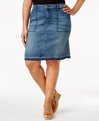 Style & Co Plus Size Distressed Denim Skirt, Created for Macy's ...