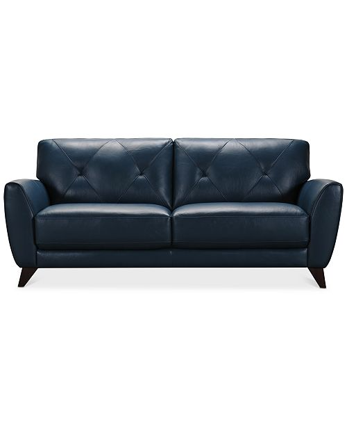 Myia 82 Leather Sofa, Created for Macy\'s