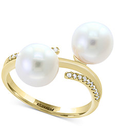Pearl Lace by EFFY® Cultured Freshwater Pearl (8mm) and Diamond (1/10 ct. t.w.) Ring in 14k Gold