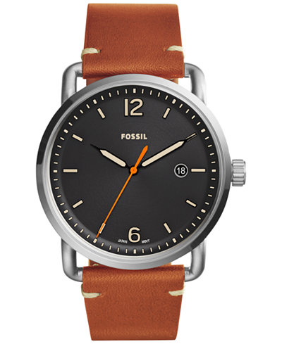 Fossil Men's The Commuter Brown Leather Strap Watch 42mm FS5328