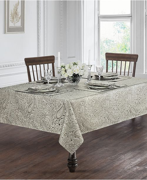 "Waterford Esmeralda Taupe 70"" Round Tablecloth"