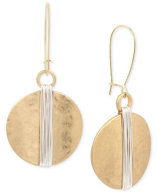 Robert Lee Morris Soho Two-Tone Wire Wrapped Hammered Disc Drop Earrings
