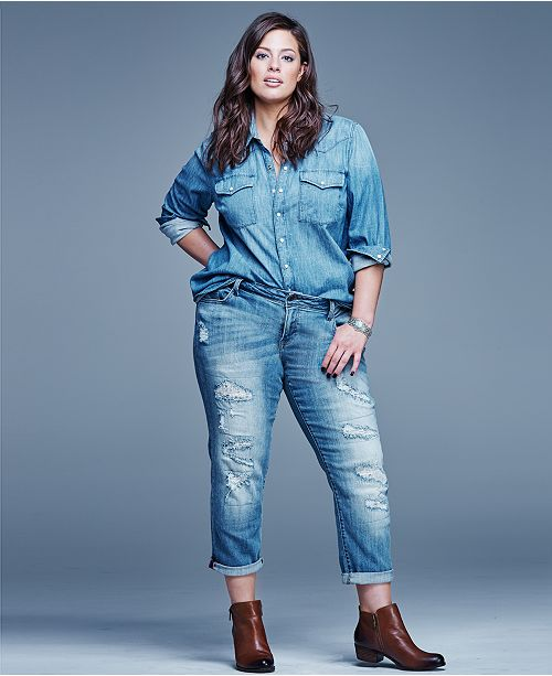 09f6240d5b2ee Lucky Brand Jeans Trendy Plus Size Button-Down Denim Shirt   Reviews ...