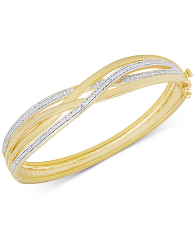 Diamond Accent Weave-Style Bangle Bracelet in Gold over Sterling Silver-Plated Brass
