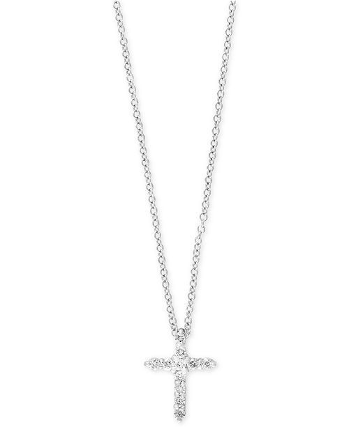 EFFY Collection Pavé Classica by EFFY® Diamond Cross Pendant Necklace (1/5 ct. t.w.) in 14k White Gold