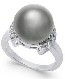 Cultured Black Tahitian Pearl (12mm) and Diamond (1/5 ct. t.w.) Ring in 14k White Gold